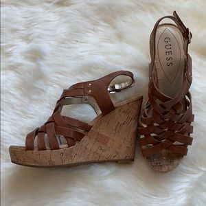 GUESS leather, sandal, wedges